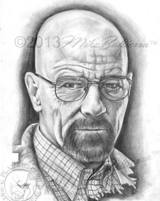 Portrait Drawing Sketch of Walter White