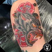 Traditional Color Tattoo Wolf and Roses