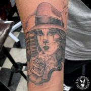 Gangster Chicana Girl Black and Grey single needle tattoo