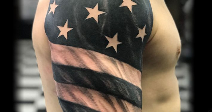 Realistic Cool American Flag Sleeve Tattoo in Black and White Grey