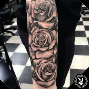 Black and Grey Roses Sleeve Real Looking