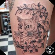 Cat Portrait Tattoo with Flower foreground